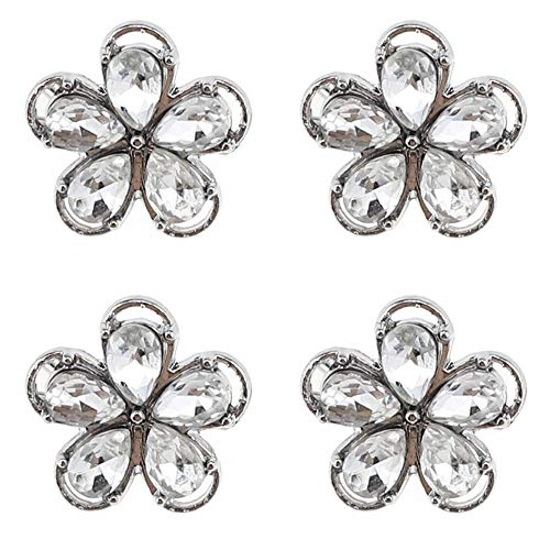 - SHINYTIME Crystal Rhinestone Buttons 4 Pieces Sew-On Silver Flower Buttons for Bridal Clothing Wedding Bouquet Accessories Decoration and DIY Crafts 0.7 inch