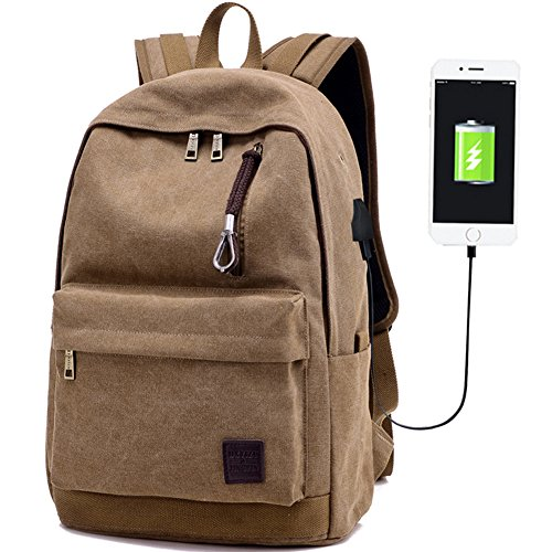 Laptop Computer Backpack Hopesport External USB Charge Port Headphone Hole Cable School Business Backpacks with Built-in USB Charging (coffee)