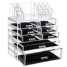 SONGMICS Acrylic Cosmetic/makeup Organizer Jewelry Display Boxes Bathroom Storage Case 3 Pieces Set W/ 8 Drawers UJMU08T