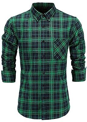 Emiqude Men's 100% Cotton Slim Fit Long Sleeve Button Down Flannel Cross Plaid Dress Shirt