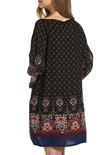 HOTOUCH Mujer Vestido Bohemio Manga Larga de Barroca Flor Impresión del Vintage Suelto Vestido Negro