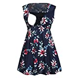 Nursing Tops for Breastfeeding,Women's Maternity Sleeveless Floral Print Tops Nursing Baby Blouse Clothes,Maternity Intimate Apparel,Gray,S