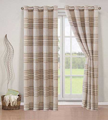 Elegant Home 2 Piece Striped Semi Sheer Window Treatment Curtain Panel Set of 2 Grommet Window Draperies Panels for Living Room Bedroom or ANY Window Up to 108