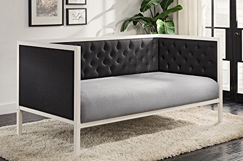 DHP 4093119 Soho Modern Daybed, Twin, White Metal with Black Linen - Soho Panel Bed