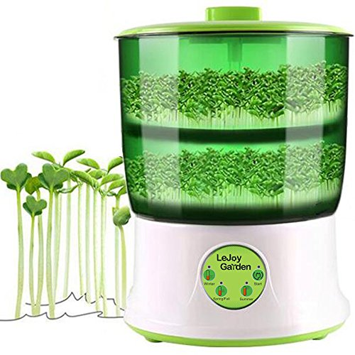 Bean Sprouts Machine Automatic Intelligence Electronical 110V Seed Sprouts Maker Food Grad PP Material 2 Layers Large Capacity Power-Off Memory Function Sprouter