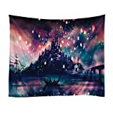 Xinhuaya Romantic Castle Wishing Lights Flying Painting Mandala Bohemian Tapestry Wall Hanging Indian Wall Art (60×51 Inch, Multi 12)