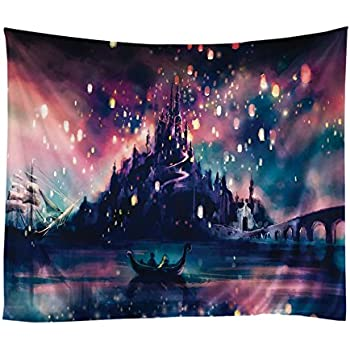 Adarl Psychedelic Lantern Tapestry Hanging Wall Tapestries Hippy Boho Gypsy Full-Polyester Tapestry Table Cover Bedspread Beach Towel (51x60inch)