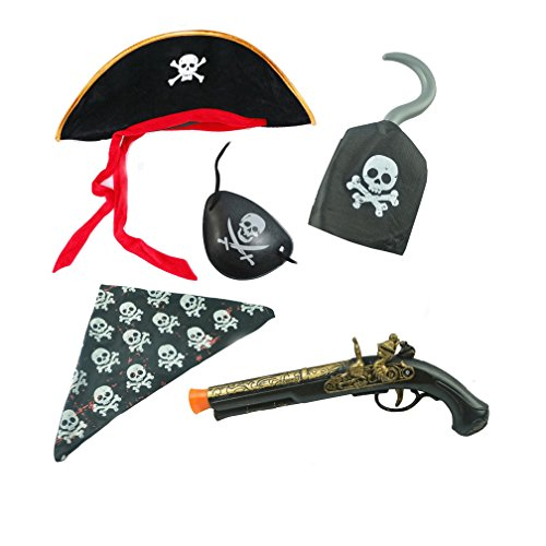 Pirate Customes (Fun Halloween costume pirate sets of 5pc party supplies including eye patche,hook,Kerchief,gun and hat)