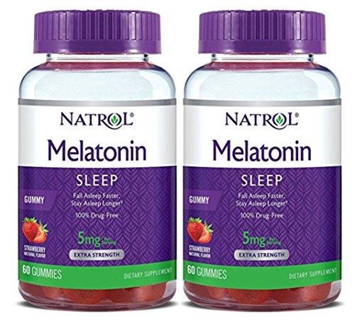 Natrol Melatonin Gummies Strawberry Flavor, 5mg, 60 Count (2 Pack)