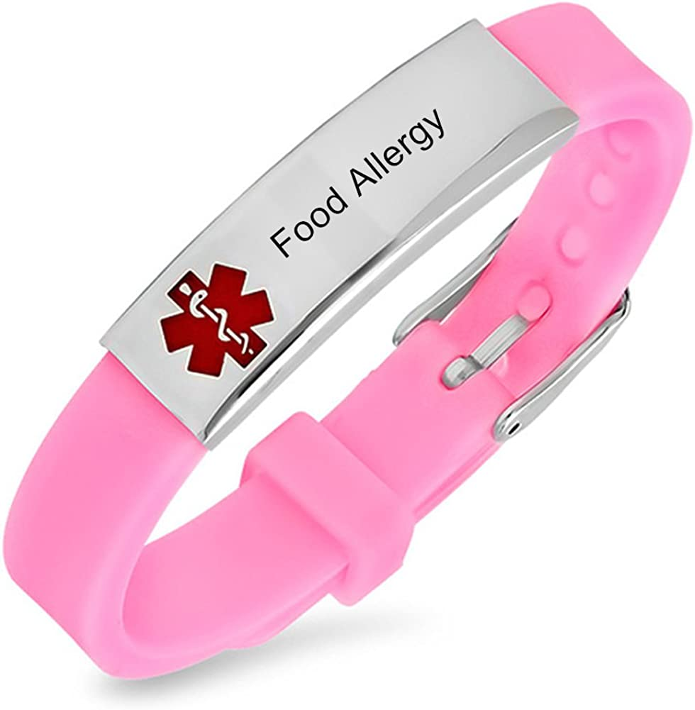 LiFashion LF Free Engraved Stainless Steel Children Adult Pink Silicone Chain Adjustable Medical Allergy Bracelet ID Health Alert Monitoring Systems Adjustable Wristband for Teen Kids