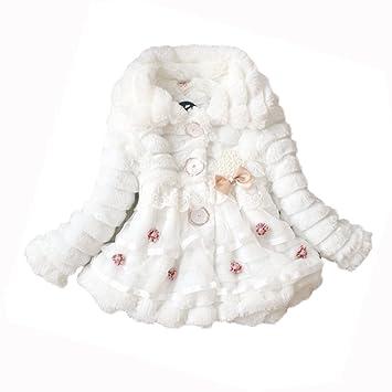 2327c7608 Amazon.com  Leegoal Girls Faux Fur Fleece Lined Coat Kids Winter ...