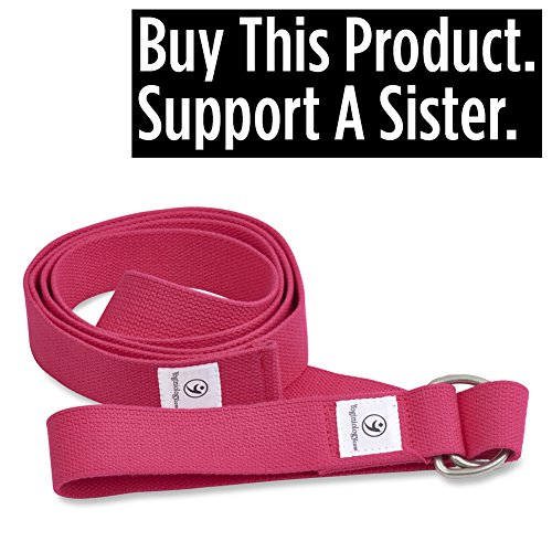 "THE Yoga Strap. 8 Foot Super Soft Durable No Slip D-Ring Belt Strap Best for Stretching, Poses, Increasing Flexibility, Balance and Compression for Restorative Yoga.""Peace of Mind"" Lifetime Guarantee"