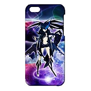 Durable 3D Hard Plastic Cover Snap on iPhone 5c,Lovely Beautiful Animated Printed Cover Black Rock Shooter Caricature Theme Skin Case