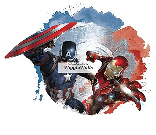 8 Inch Captain America Versus Iron Man Civil War Team Cap Stark Marvel Avengers Comics Removable Wall Decal Sticker Art Home Decor Kids Room Boys Decoration 8 x 5 1/2 inches