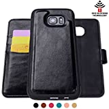 Samsung Galaxy S7 Leather Wallet Case,Shanshui Detachable 2 in1 RFID Blocking Holster with Cards Holders and Cash Pocket (S7-black)