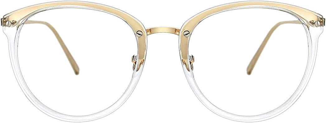 TIJN Retro Square Eyeglasses Frame Optical Eyewear Non-prescription Eyeglasses Frame with Clear Lenses for Women Men