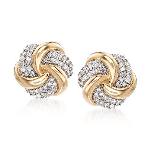 Ross-Simons 0.25 ct. t.w. Diamond Swirl Knot Earrings in 14kt Yellow Gold