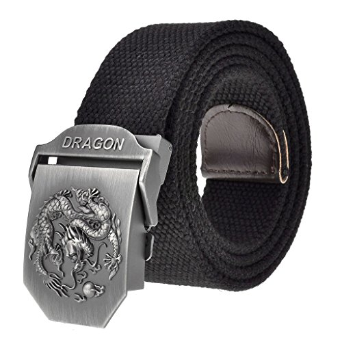 "Faleto Mens Adjustable Canvas Web Belt Dragon Buckle Military Style 49.2"" with Box"