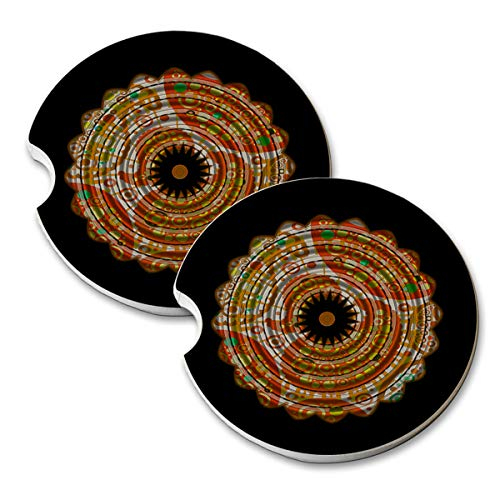 Paisley Angel (Angel Indigo Paisley Star - Natural Absorbant Sandstone Car & Truck Drink Coaster Set)