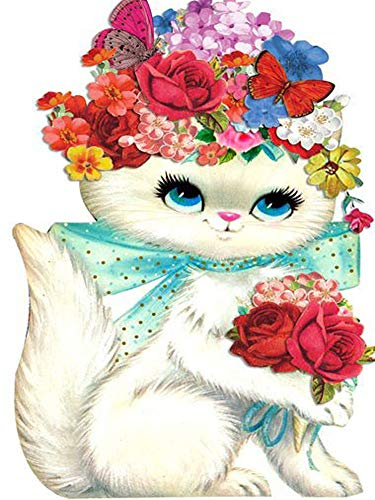 New 5D Diamond Painting Kits for Adults Kids, Awesocrafts Cat Red Roses Butterfly Partial Drill DIY Diamond Art Embroidery Paint by Numbers with Diamonds (Cat2) (For Paintings Rooster Sale)
