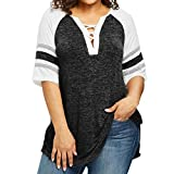 Women Blouse, Fall Casual T-shirt Cross V-Neck Half Sleeve Patchwork Shirt Plus Size Loose Tunic Tops