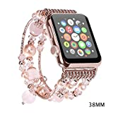 Wekin For Apple Watch Band, Fashion Sports Beaded Bracelet Replacement iWatch Strap Band For Women Girls, Apple Watch Series 38mm/42mm