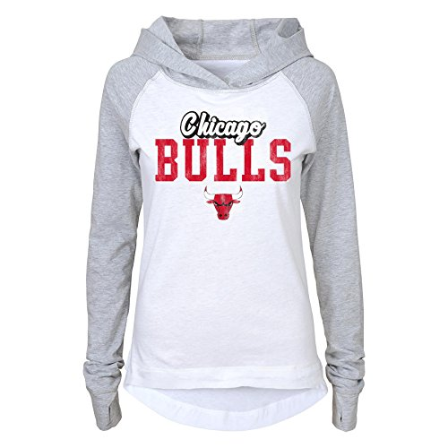 NBA Brand NBA Bulls Junior Girls Long sleeve Old School Tee with hood, Xl(15-17), White
