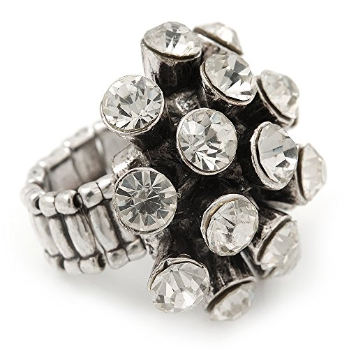 Avalaya 'Space Jam' Dome-Shaped Crystal Cluster Ring (Silver Tone) - Adjustable size 7/8