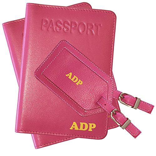 Personalized Monogrammed Hot Pink Leather RFID Passport Cover Holder and Luggage Tag - 2 - Passport Monogrammed Cover
