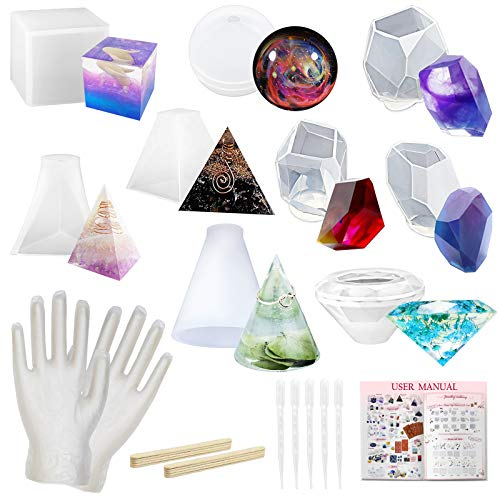 Funshowcase Epoxy Resin Casting Silicone Molds Jewelry Making Supply 26-Count, Large Pack of 9 Trays Pyramid Cone Cube Sphere Crystal Stones Diamond Gem, Make Soap Candle Wax Crayon Concrete