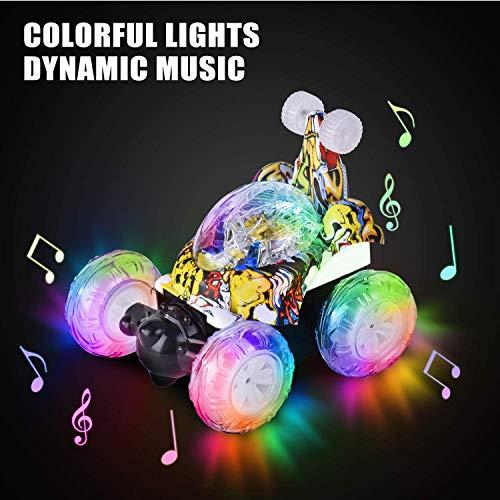 UTTORA Ferngesteuertes Auto Militärfahrzeuge,Kinderspielzeug für Jungen Mädchen,Dual Modi 360° Drehbarer Stunt Rennwagen LED-Lichter, USB-Kabel,Kontrollierte Schaltermusik,Geschenk für Jungen Mädchen
