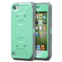 iPod Touch 6th Generation Case, iPod Touch 5 Case,ULAK Knox Armor Dual Layer Fullbody Hybrid Protective Case with Belt Clip Holster for Apple iPod Touch 5 6th Generation (Mint Green)