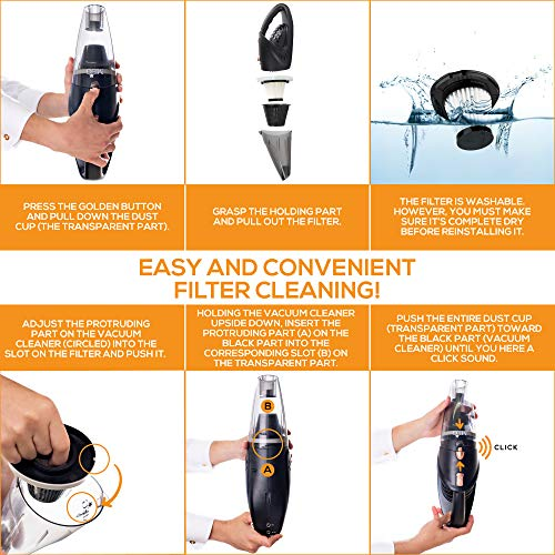 Vehicles Dust Buster Floors Carpets GNG Handheld Vacuum Cleaner 12v Portable Cordless Vacuum with Car /& Wall Rechargeable Lithium-ion Black Detailing Vacuum Cleaners for Wet and Dry Furniture