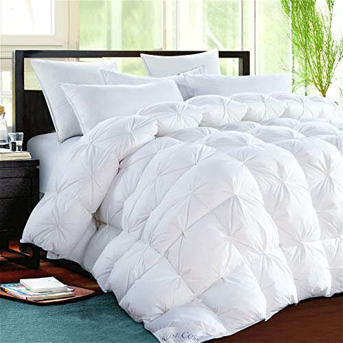 ROSECOSE Luxurious Goose Down Comforter Queen Size Duvet Insert Pinch Pleat 1200 Thread Count 750+ Fill Power 100% Cotton Shell Hypo-allergenic Down Proof with Tabs (Queen,White,Pinch Pleat) (Comforter Allergenic Down Non)