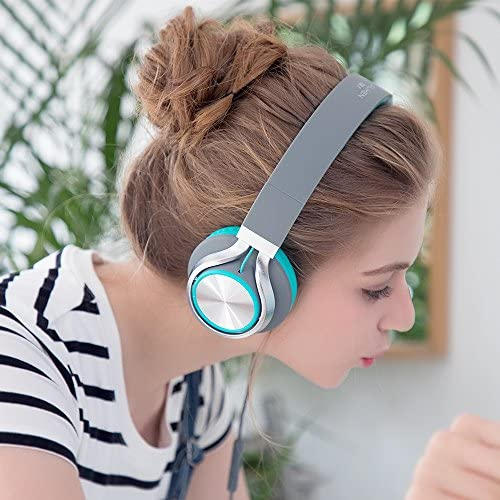 AILIHEN C8 Headphones with Microphone and Volume Control Folding Lightweight Headset for Cellphones Tablets Smartphones Laptop Computer PC Mp3/4 (Grey/Mint) 5158EQjmCmL