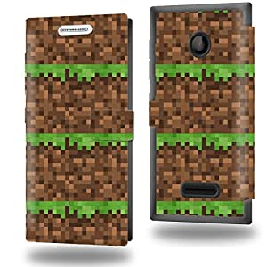Construction Terrain Grass Heart Map - Jeux Collection Pattern Funda de Cuero para Microsoft Lumia 435 Flip Case Cover (Estuche) PU Cuero - Accesorios Case Industry Protector