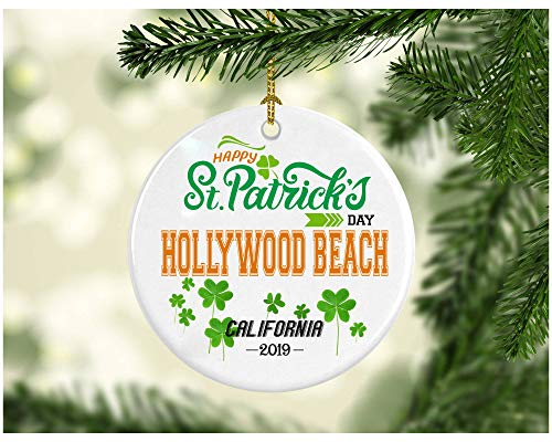 St Patricks Day Ornaments Decorations - Personalized Hometown State - St Patricks Day Gifts Hollywood Beach California - Ceramic 3 Inches ()