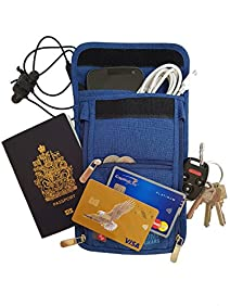 Travel passport wallet neck pouch with RFID safe blocking 600D Nylon