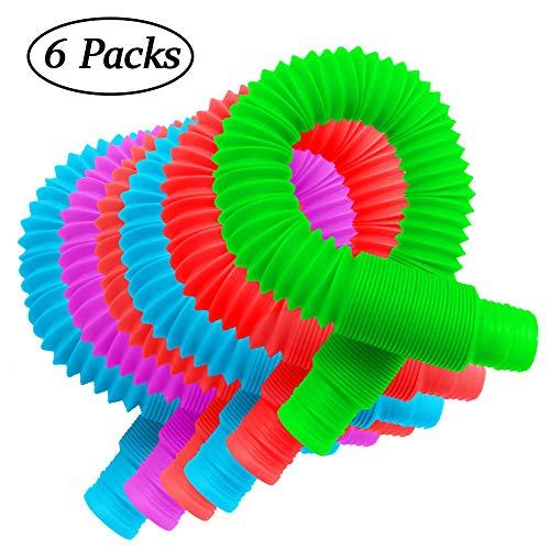 [해외]6-Pack Pop Tubes Sensory Toy Multi-Color Stretch Pipe Sensory Toys for Kids Stress and Anxiety Relief / 6-Pack Pop Tubes Sensory Toy, Multi-Color Stretch Pipe Sensory Toys for Kids Stress and Anxiety Relief
