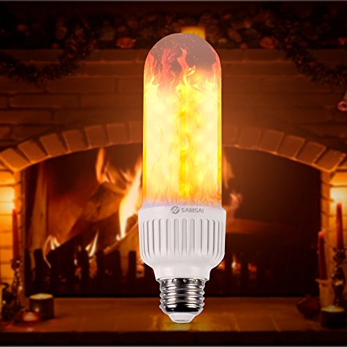 SAMSAI Flame Bulb LED Lights A Creative and Unique Flowing Natural Simulated Gas Fire - Decorative Outdoor Lamp E26/E27 Bulb 3 Different Modes Romantic Mood Lamp Vintage Flickering Lantern (Gas Outdoor Torches)