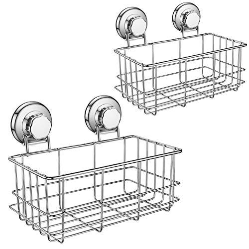 iPEGTOP Suction Cup Deep Shower Caddy Bath Organizer Basket for Large Shampoo Shower Gel Holder Bathroom Storage - Rustproof Stainless Steel, 2 Pack