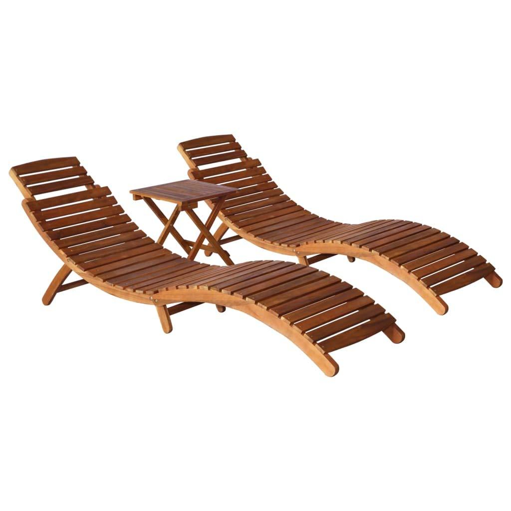 2 lettini Prendisole e 1 tavolino Tidyard Lettino Prendisole Pieghevole e reclinabile sedie a Sdraio da Giardino Legno Lettino Prendisole Lettino da Esterno