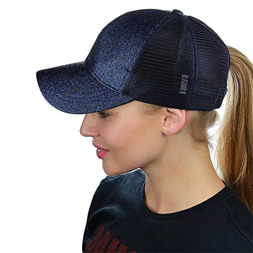 HADM Adjustable Glitter Mesh Trucker Baseball Cap Ponycap Messy High Bun Ponytail Visor Cap Hats, Navy Blue, One Size