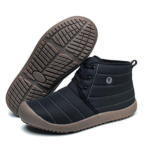 Go Tour Slip On Snow Boots Per Uomo Donna, Stivaletto Alla Caviglia Leggero Antiscivolo Con Pelliccia Completamente Nera / Stringata