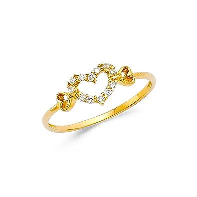 b056d5762fc66 Amazon.com: GemApex CZ Heart Ring Solid 14k Yellow Gold Hearts Band ...