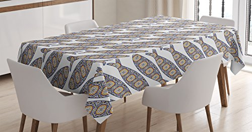 Ambesonne Traditional House Decor Tablecloth by, Portuguese Azulejo Tiles Sardine Fishes Folk Animal Artisan Historical, Dining Room Kitchen Rectangular Table Cover, 60W X 84L Inches, Multi by Ambesonne
