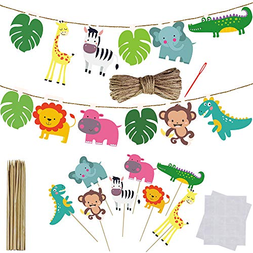 Supla VBS Safari Jungle Animals Hanging Decorations Cupcake Toppers Green Safari Party Forest Animal Theme Supplies for Baby Shower Kids 1st Birthday Nursery School Classroom Table Ceiling Decor -