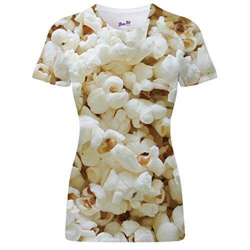 Bang Tidy Clothing Popcorn Design All Over Sublimation Print Fun Cinema Treat Unisex Womens T Shirt - M ()