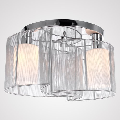 LightInTheBox 2 Light Semi Flush Mount Ceiling Light Fixture With Fabric  Shade And Cloth Cover, Chrome, Mini Style Chandeliers For Hallway, ...