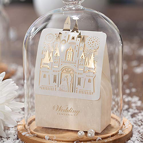 WISHMADE 50x Laser Cut Wedding Favor Boxes 3D Fairy Gold Gilding Bride and Groom in Castle Candy Box Gift Chocolate Bag Paper Bags for Engagement Bridal Shower Anniversary Decoration CB5093